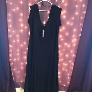 Cold shoulder black formal with rhinestone detail